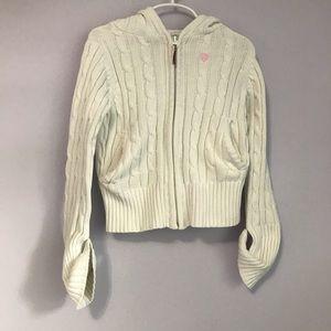 Girls White Knit GAP Zip Up Jacket Size 6-7